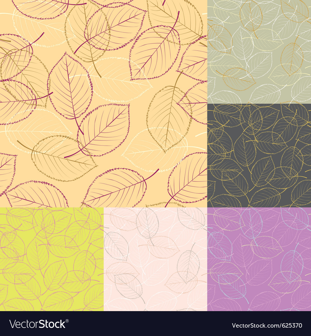 Six seamless leaves backgrounds vector | Price: 1 Credit (USD $1)