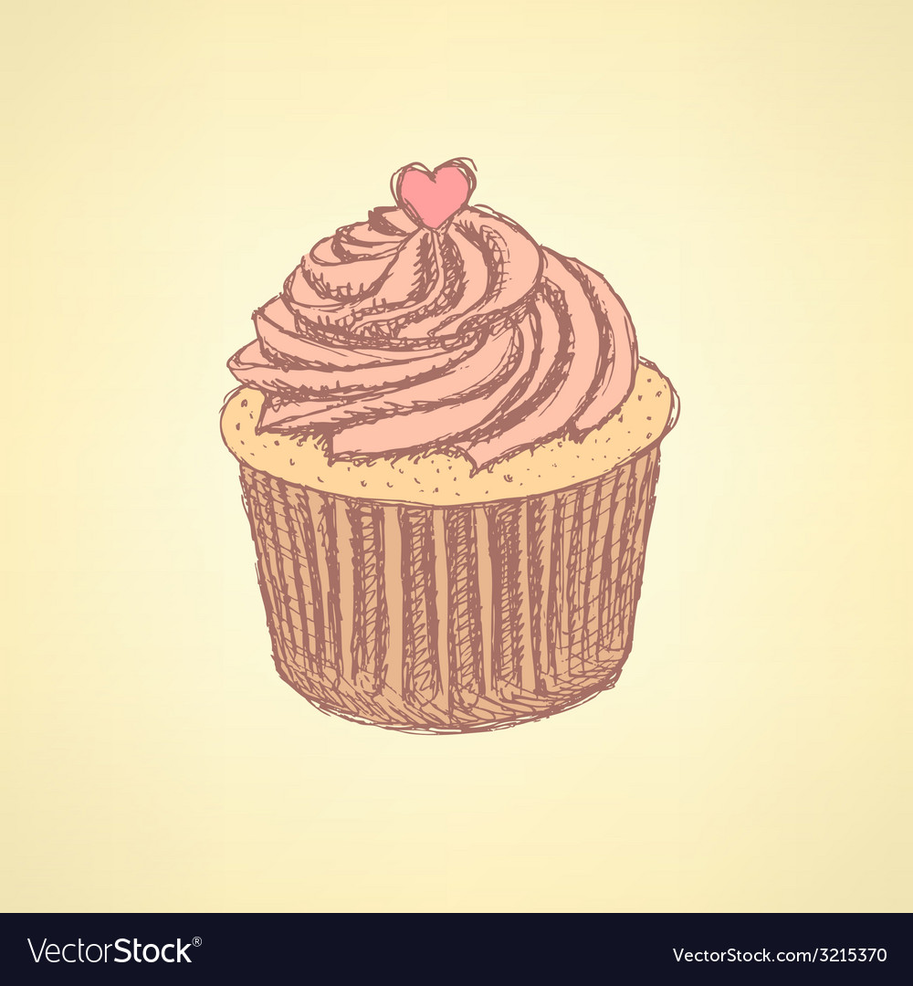 Sketch tasty cupcke in vintage style vector | Price: 1 Credit (USD $1)