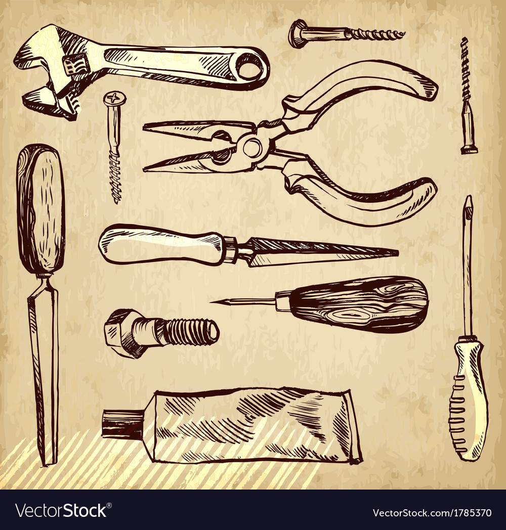 Tools scetch set on paper background vector | Price: 1 Credit (USD $1)