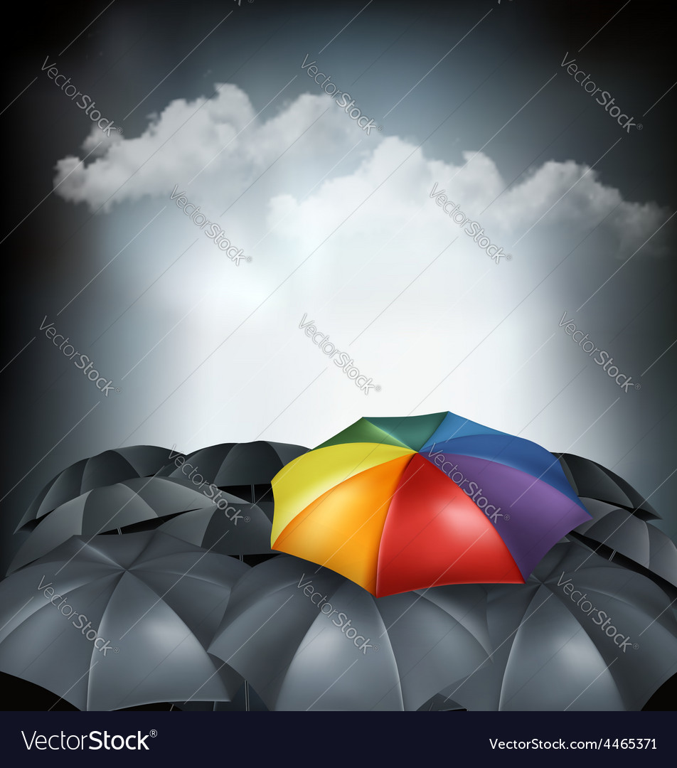 A rainbow umbrella amongst grey ones uniqueness vector | Price: 3 Credit (USD $3)