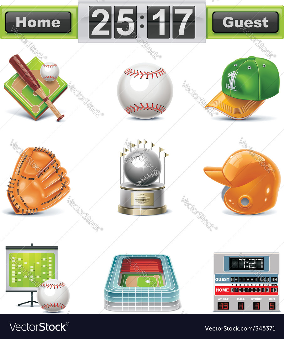 Baseball softball icon set vector | Price: 3 Credit (USD $3)