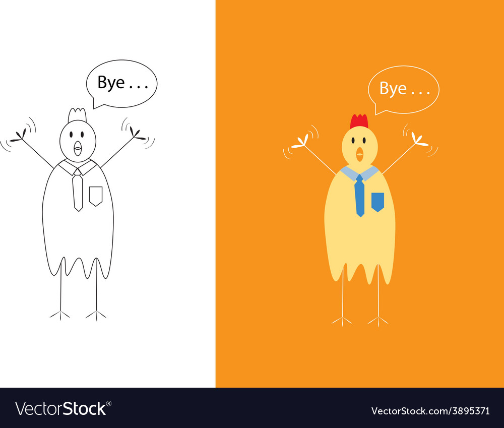 Chicken businessman saying goodbye vector | Price: 1 Credit (USD $1)