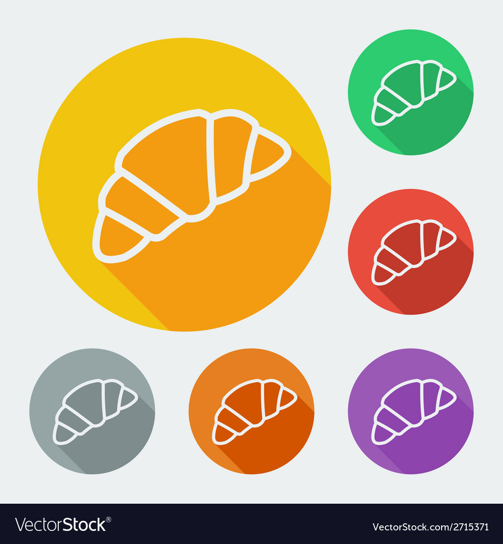 Flat style icon with long shadow six colors vector | Price: 1 Credit (USD $1)