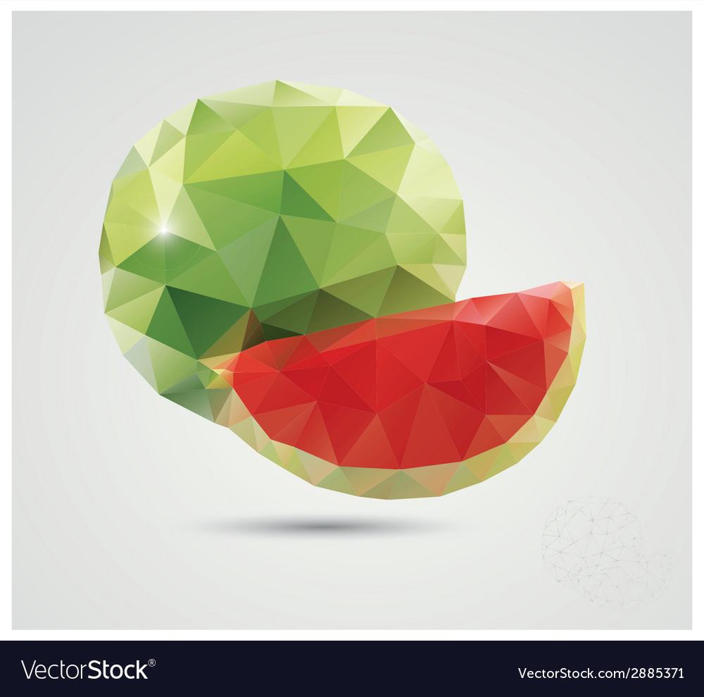 Geometric polygonal fruit triangles watermelon vector | Price: 1 Credit (USD $1)