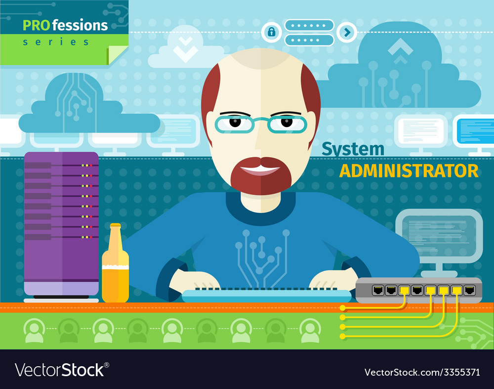 System administrator with computer in data centre vector | Price: 1 Credit (USD $1)
