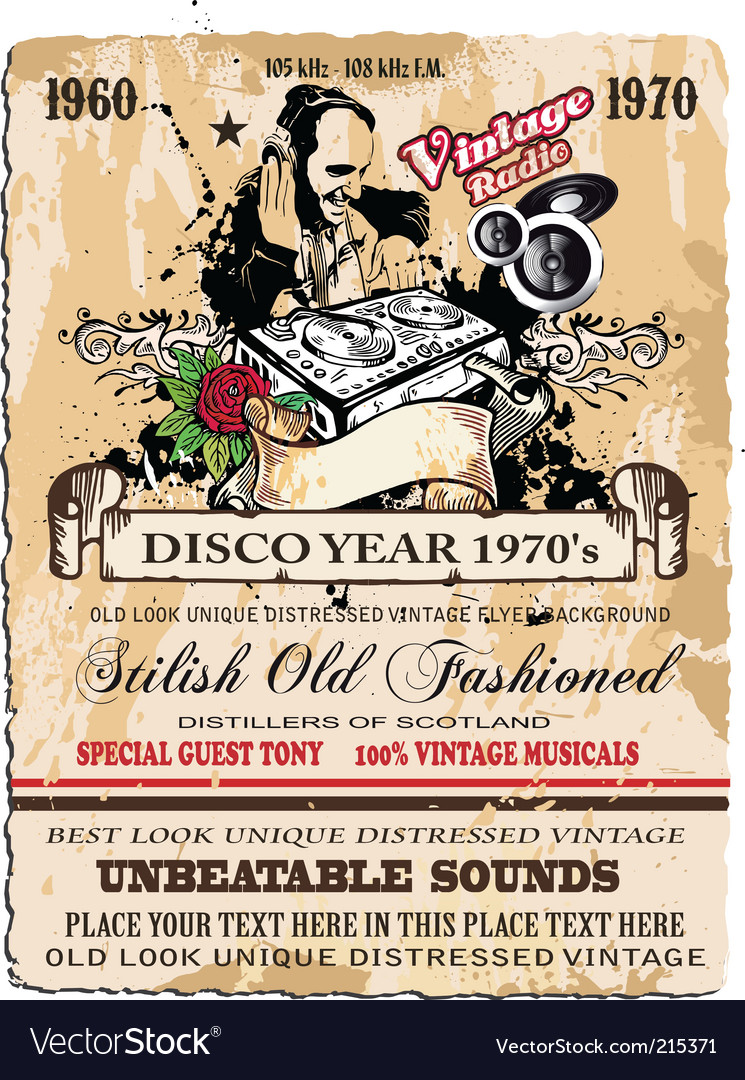 Vintage disco flyer vector | Price: 3 Credit (USD $3)