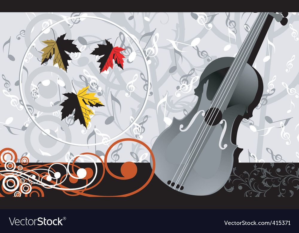 Violin and music maple vector | Price: 1 Credit (USD $1)