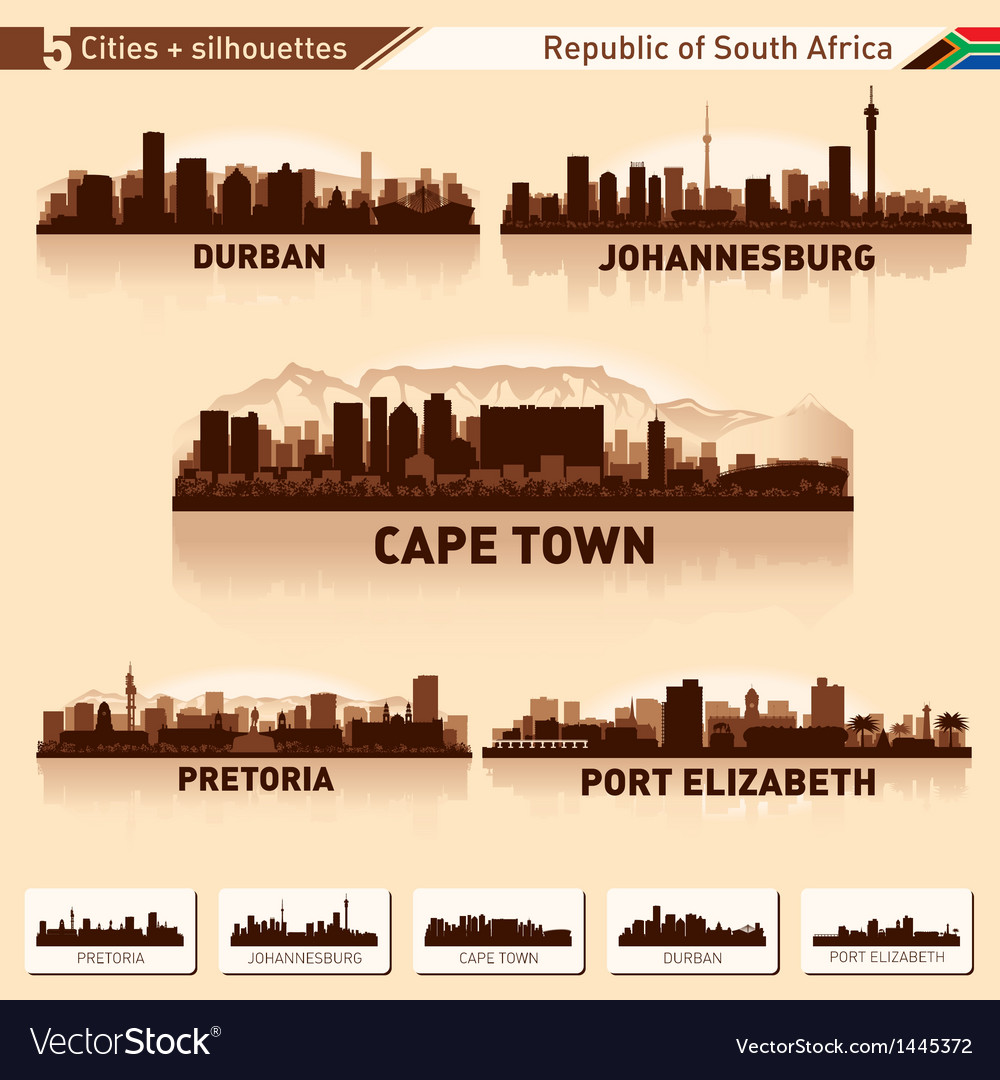 City skyline set 5 silhouettes of south africa vector | Price: 1 Credit (USD $1)