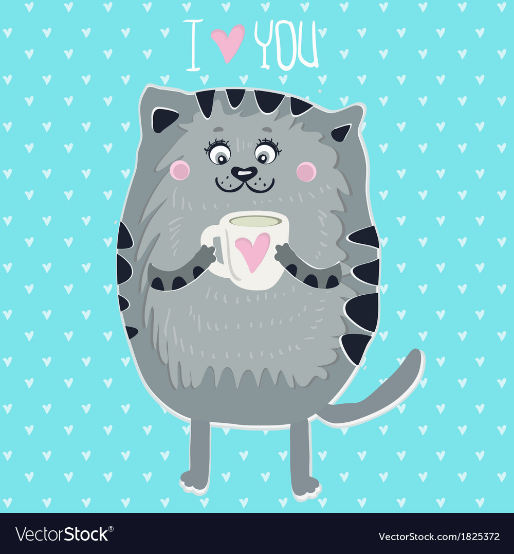 Cute cat with cup vector | Price: 1 Credit (USD $1)