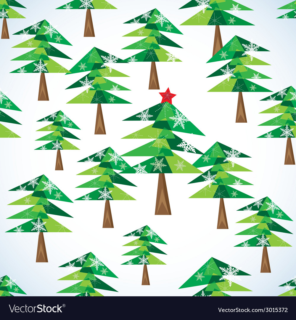 Green christmas fir trees seamless background vector | Price: 1 Credit (USD $1)
