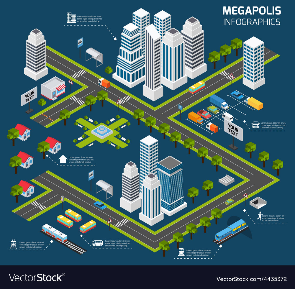 Isometric city concept vector | Price: 1 Credit (USD $1)