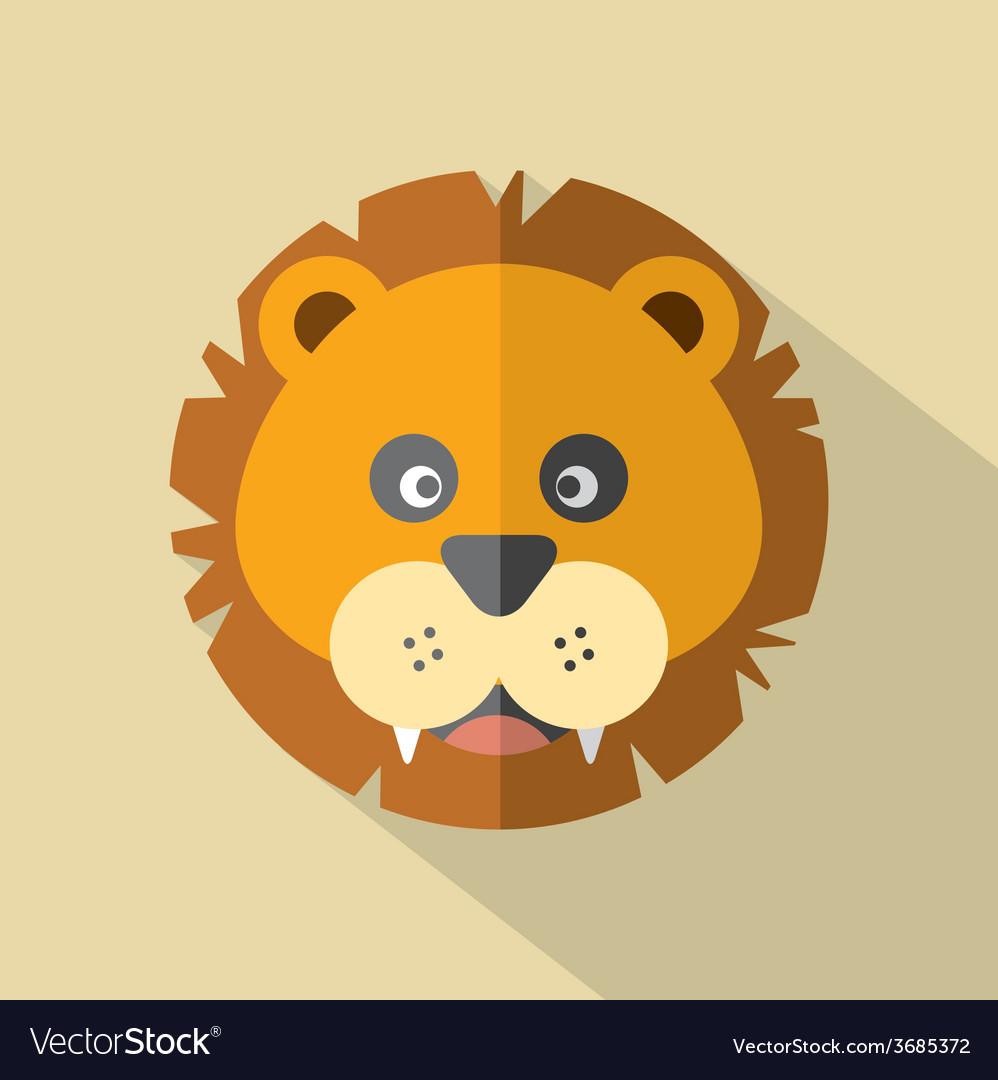 Modern flat design lion icon vector | Price: 1 Credit (USD $1)