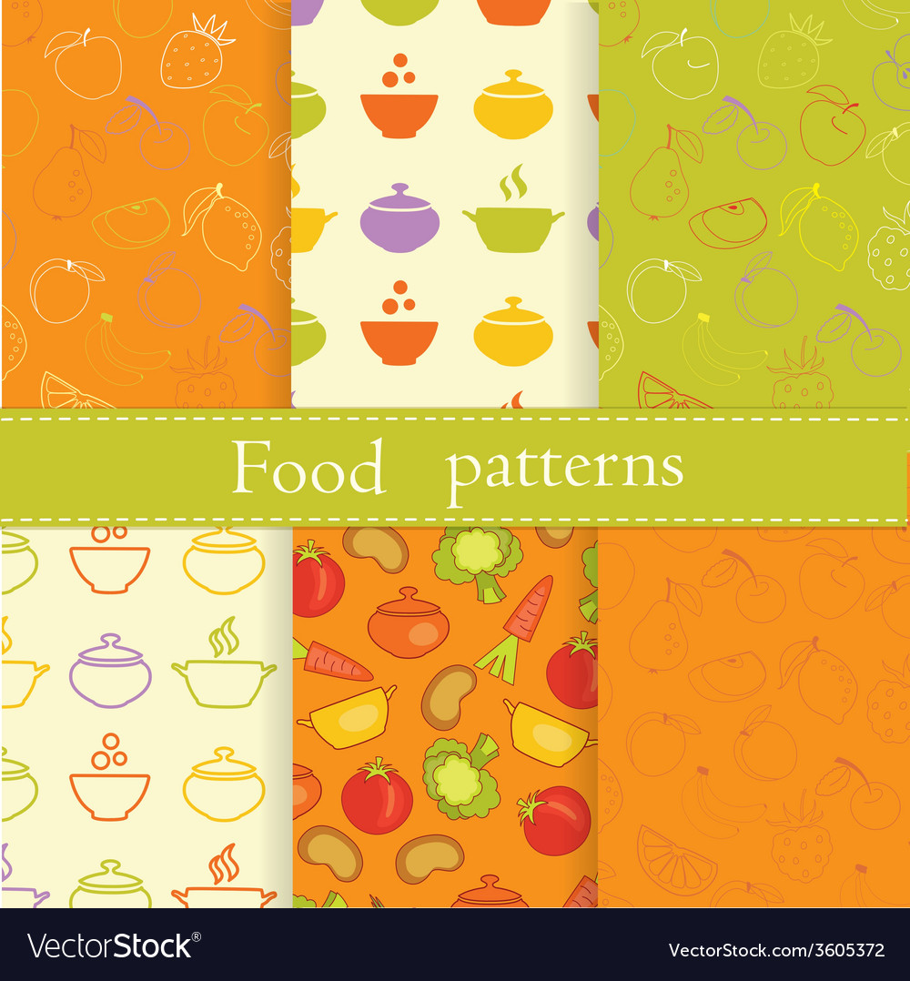 Set of food seamless patterns vector | Price: 1 Credit (USD $1)