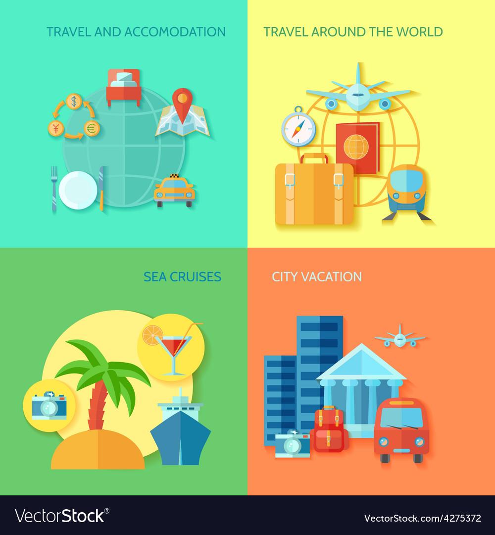 Travel flat icon set vector   Price: 1 Credit (USD $1)
