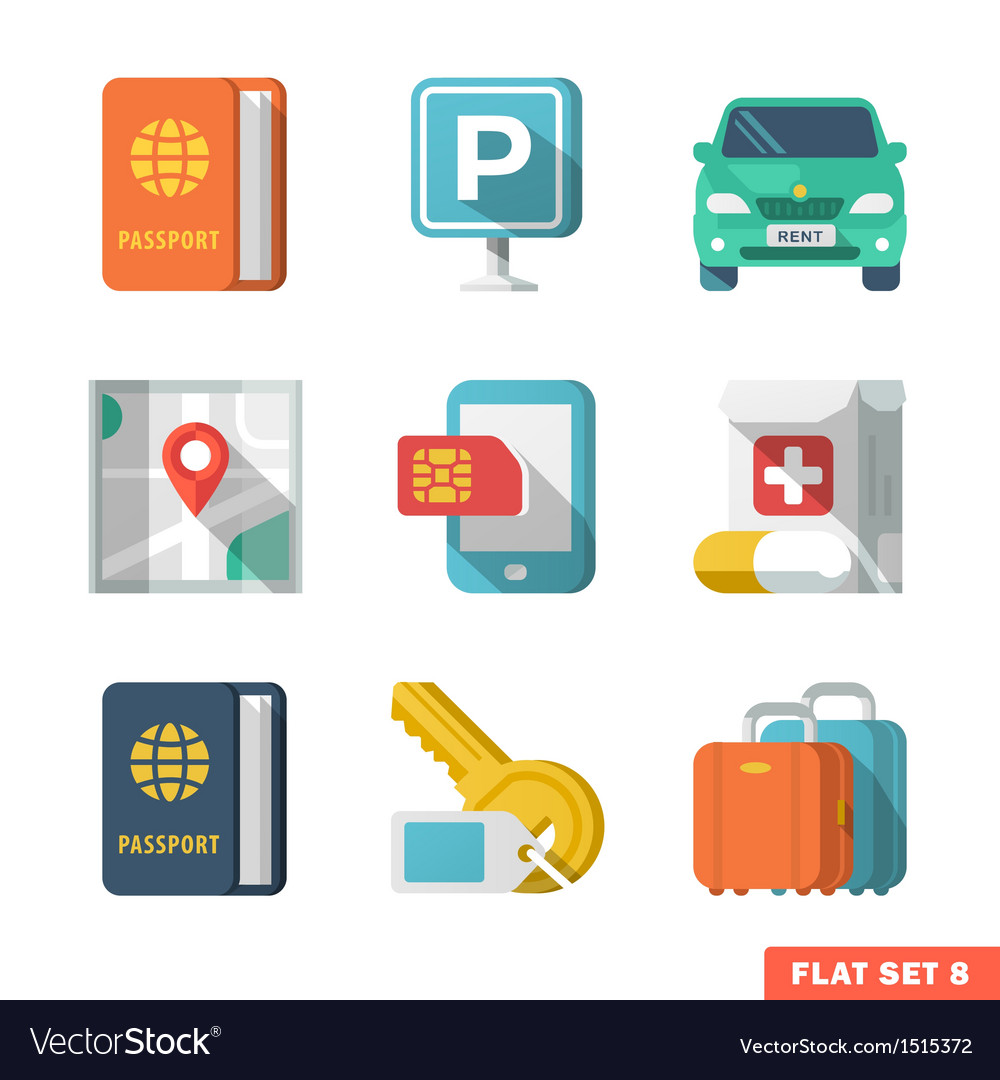 Traveling flat icons 2 vector | Price: 3 Credit (USD $3)