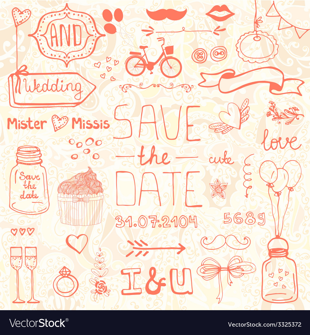 Wedding doodle designs vector | Price: 1 Credit (USD $1)