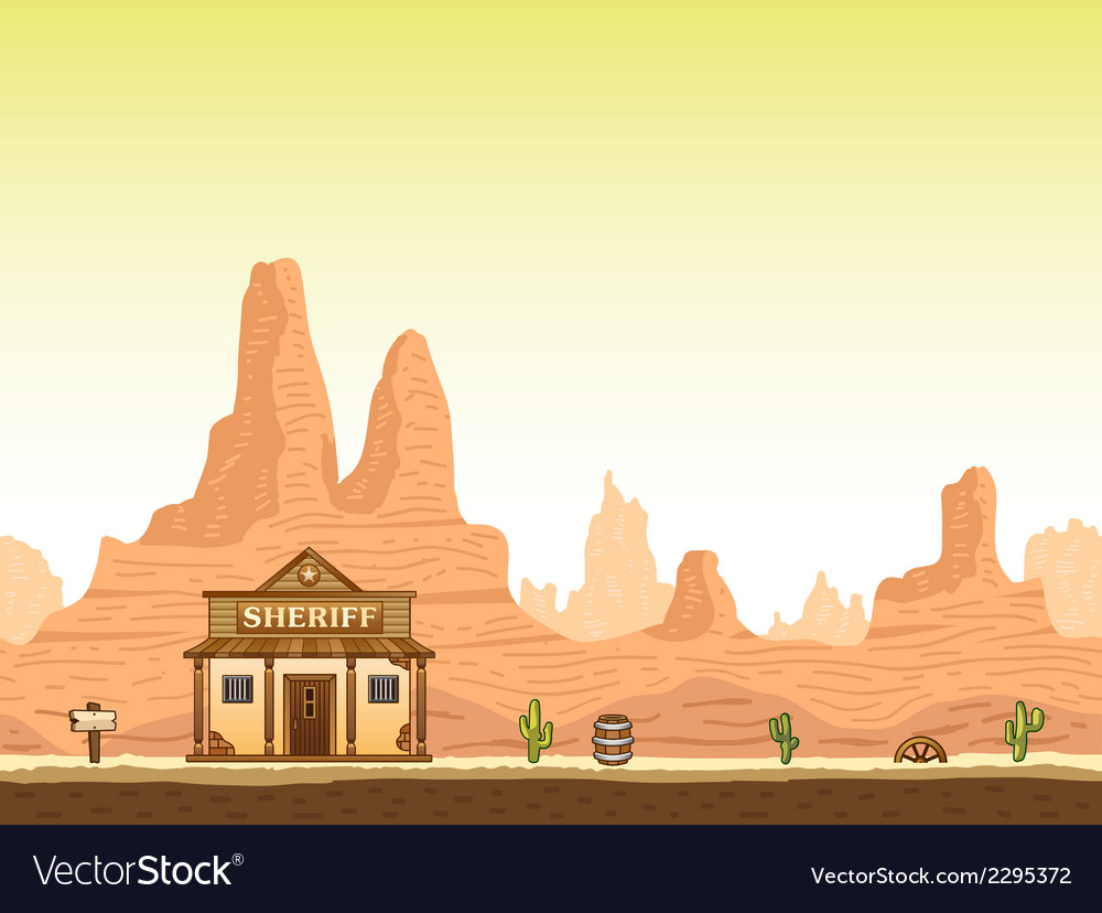 Wild old west canyon background with sheriff vector | Price: 1 Credit (USD $1)