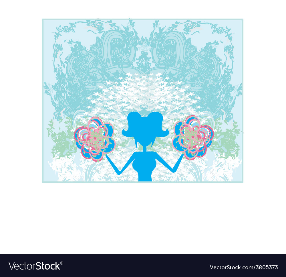 Abstract cheerleader girl poster vector | Price: 1 Credit (USD $1)
