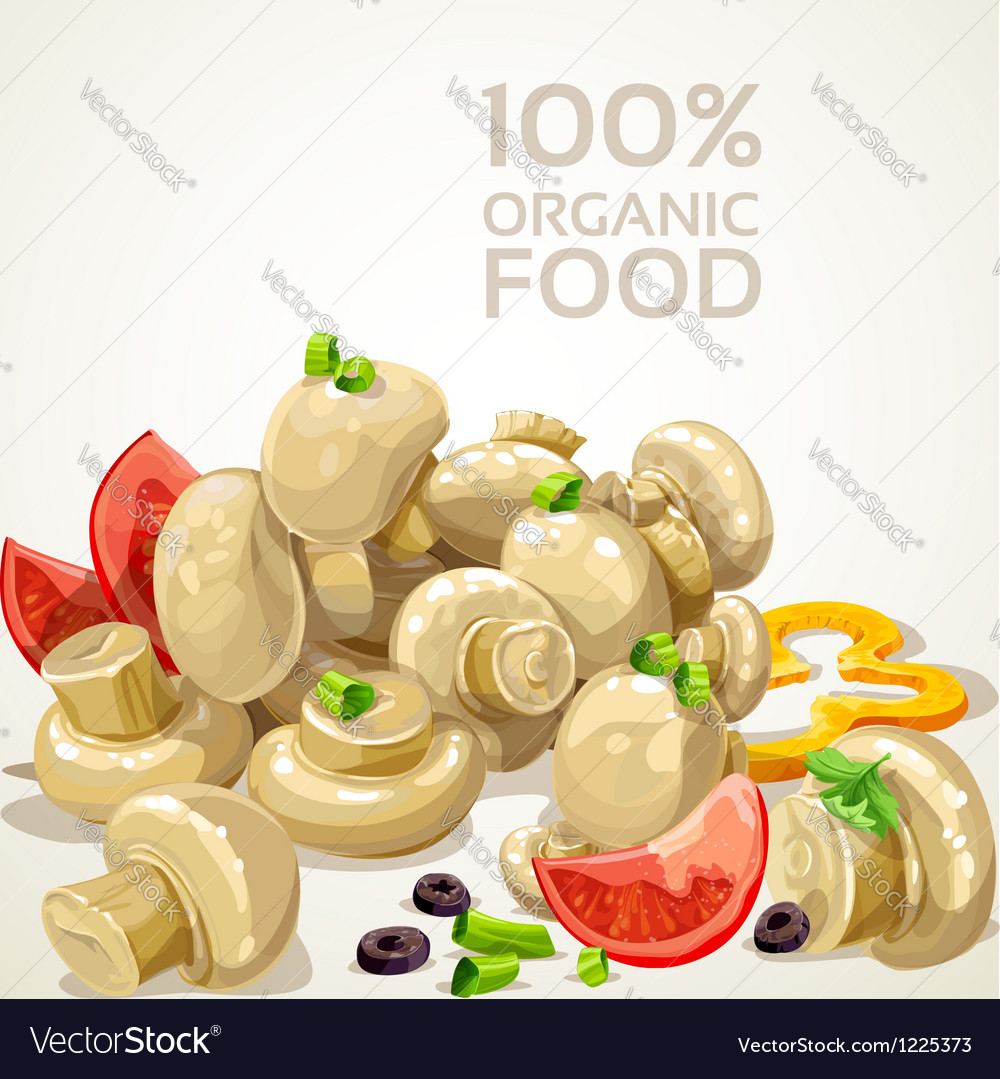 Banner with delicious marinated mushrooms vector | Price: 3 Credit (USD $3)