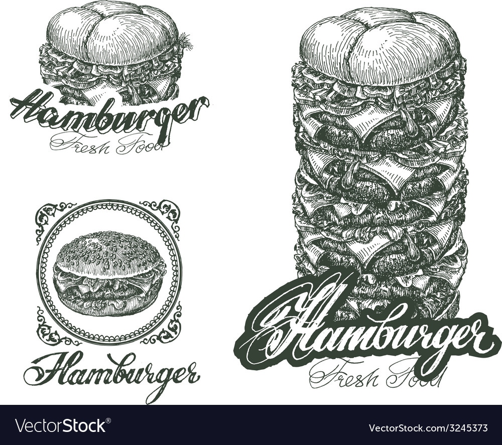 Burger icons labels signs symbols and design vector | Price: 1 Credit (USD $1)