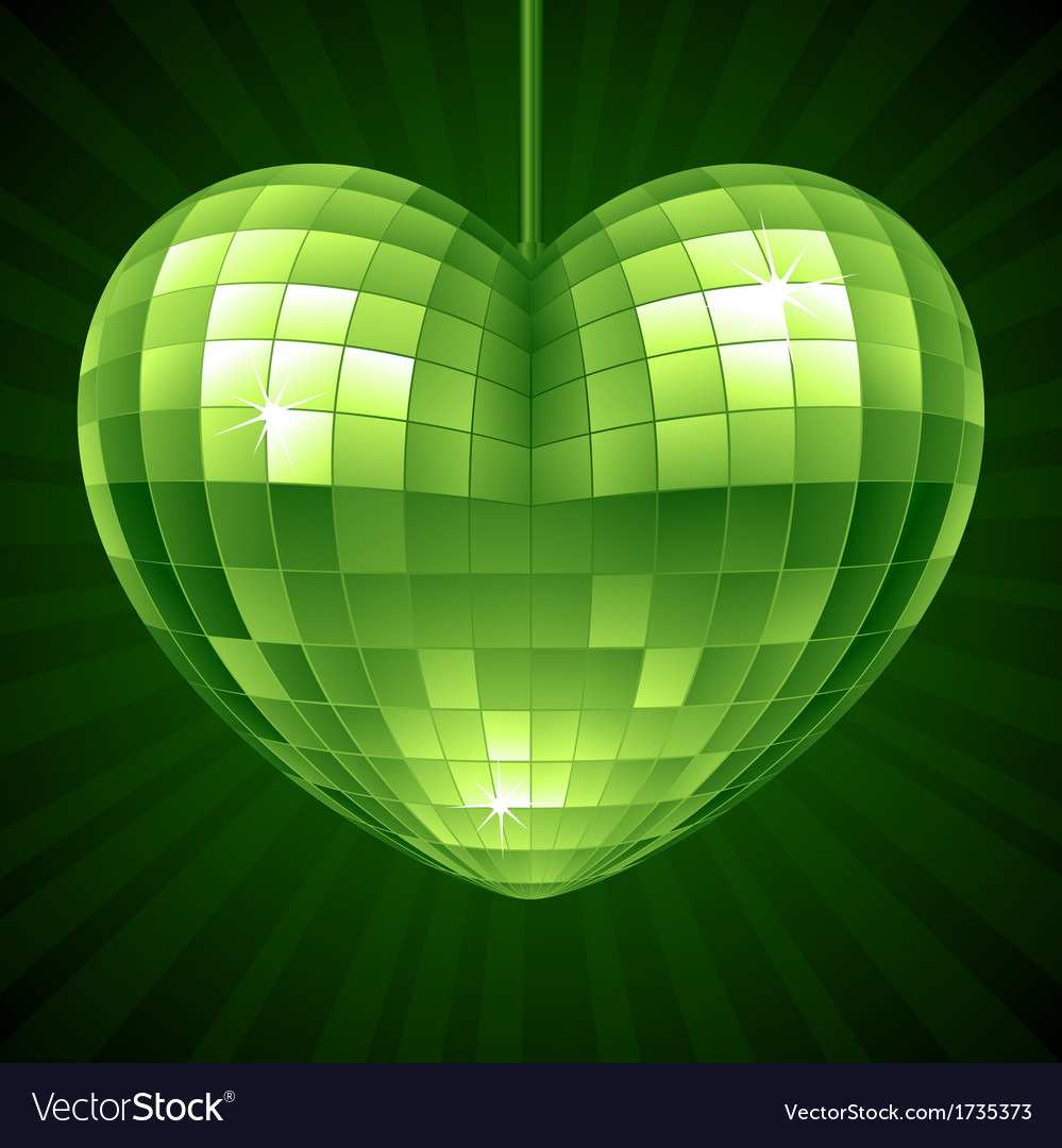 Disco heart green mirror disco ball vector | Price: 1 Credit (USD $1)