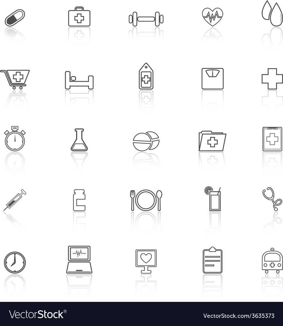 Health line icons with reflect on white background vector | Price: 1 Credit (USD $1)