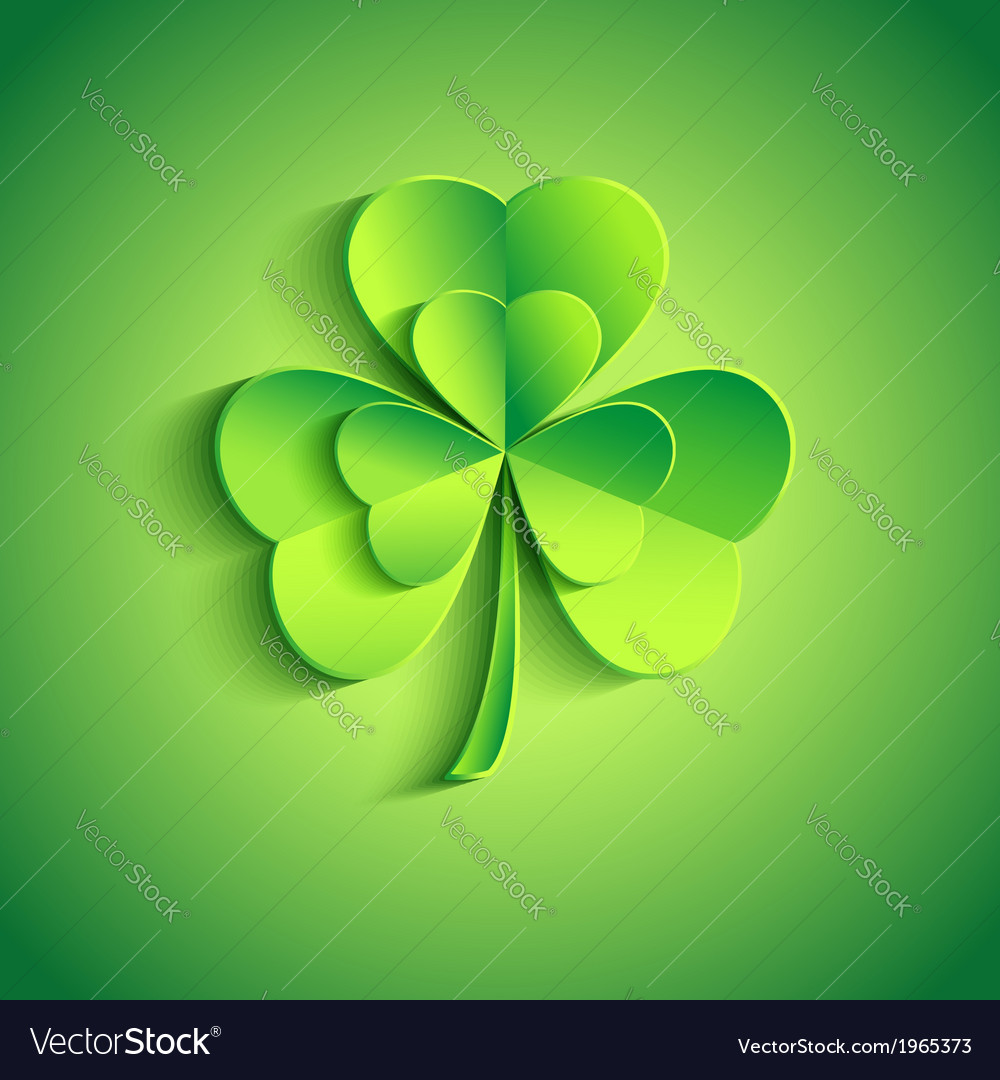Holiday patricks day card green with leaf clover vector | Price: 1 Credit (USD $1)