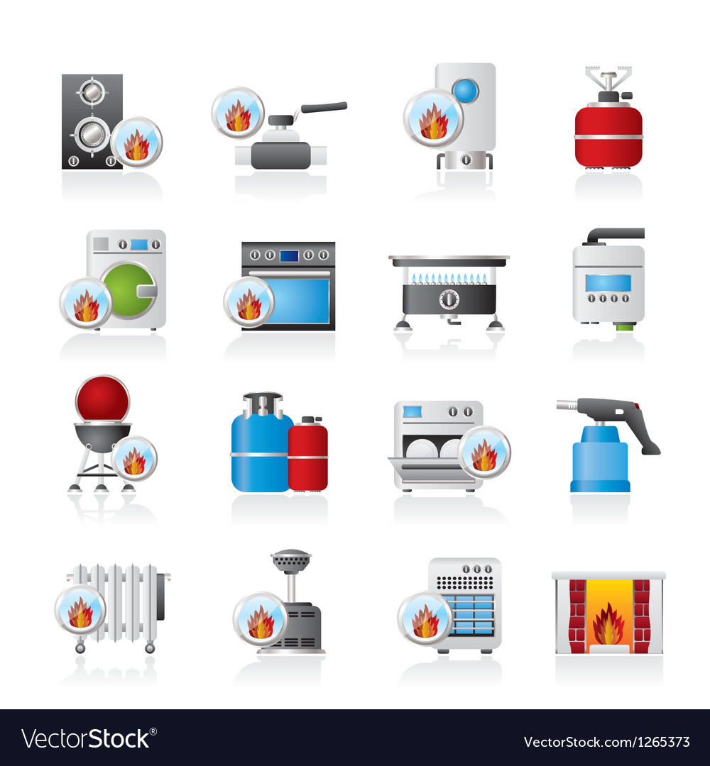 Household gas appliances icons vector | Price: 3 Credit (USD $3)