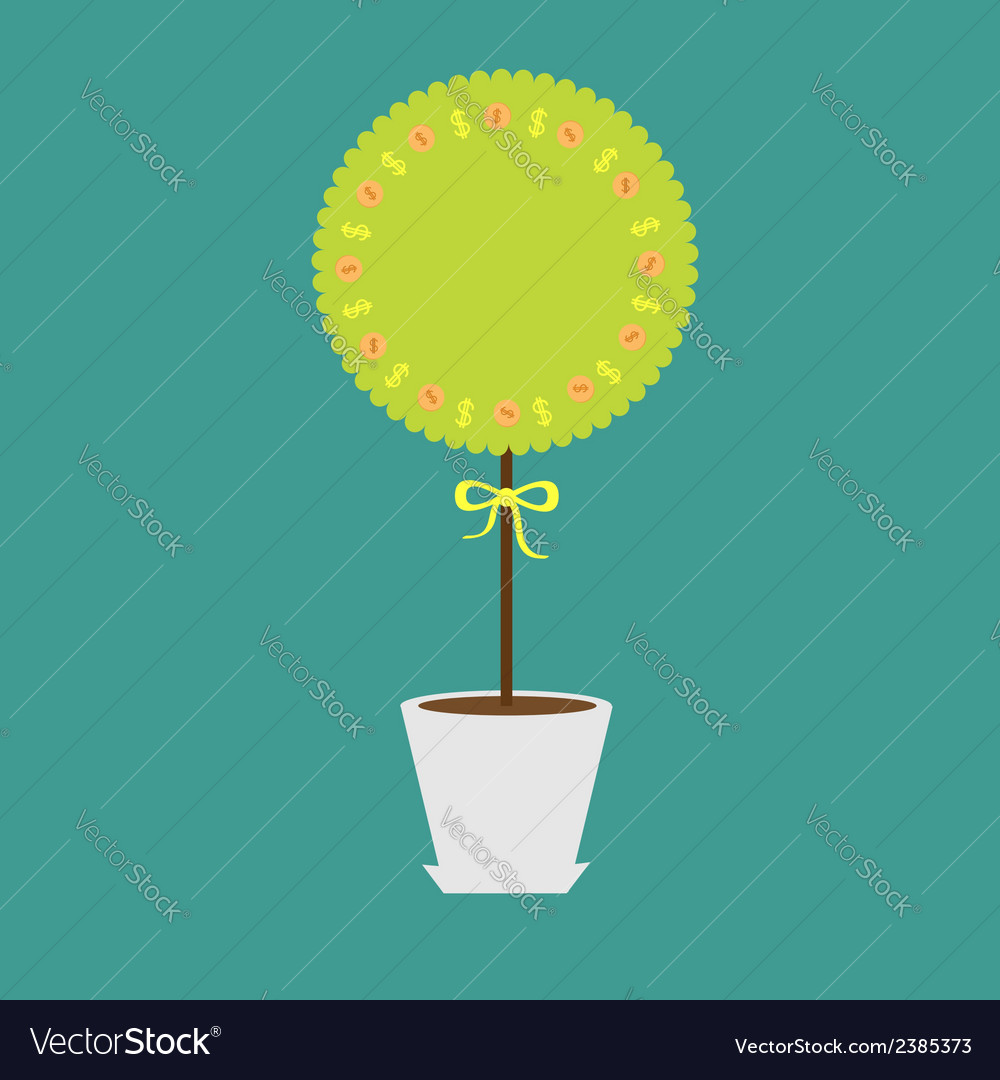 Money tree with dollar sign and coins in the pot vector | Price: 1 Credit (USD $1)