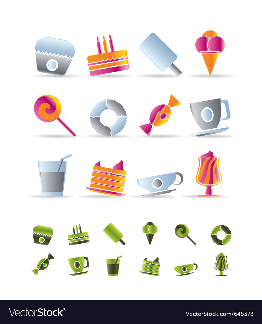 Sweet food and confectionery icons vector | Price: 1 Credit (USD $1)