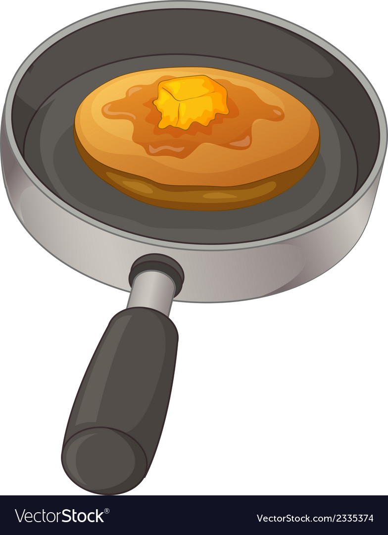 A pan with a pancake vector | Price: 1 Credit (USD $1)