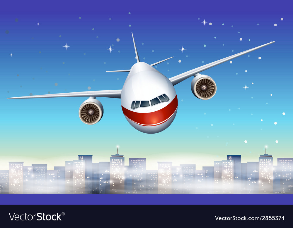 An airplane above the city vector | Price: 1 Credit (USD $1)