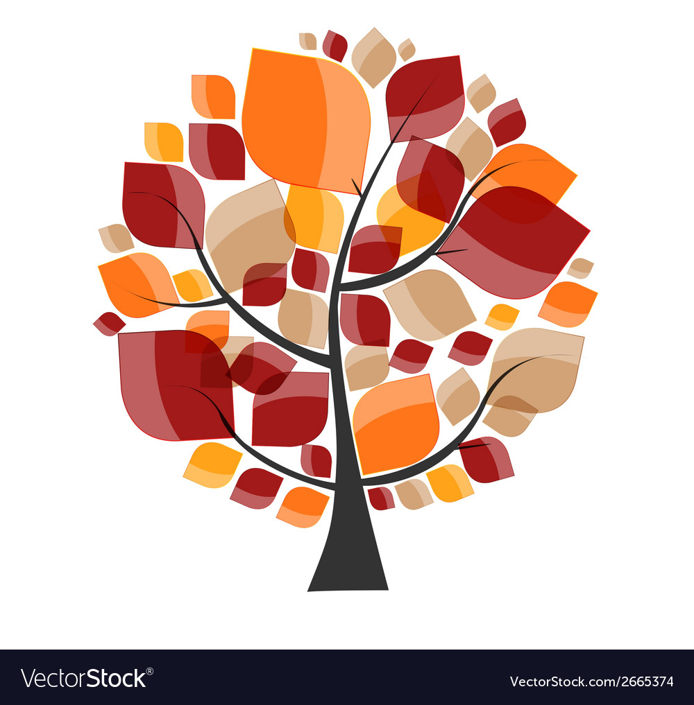 Beautiful autumn tree on a white background vector | Price: 1 Credit (USD $1)