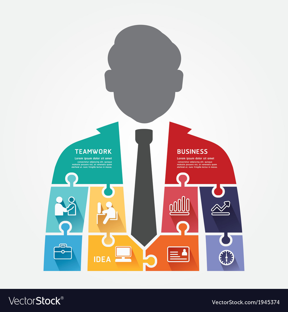 Businessman infographic template jigsaw banner vector | Price: 1 Credit (USD $1)