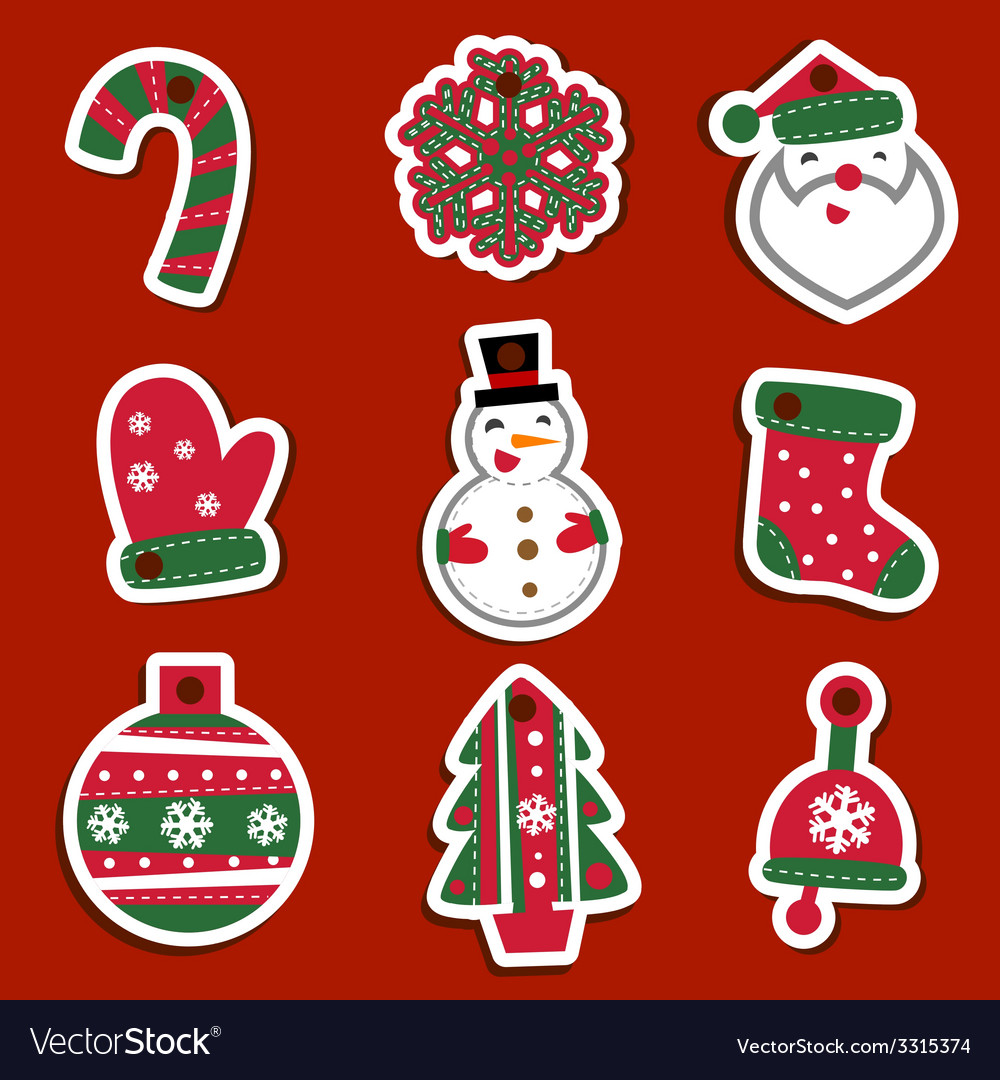 Christmas tags or stickers for gifts vector | Price: 1 Credit (USD $1)
