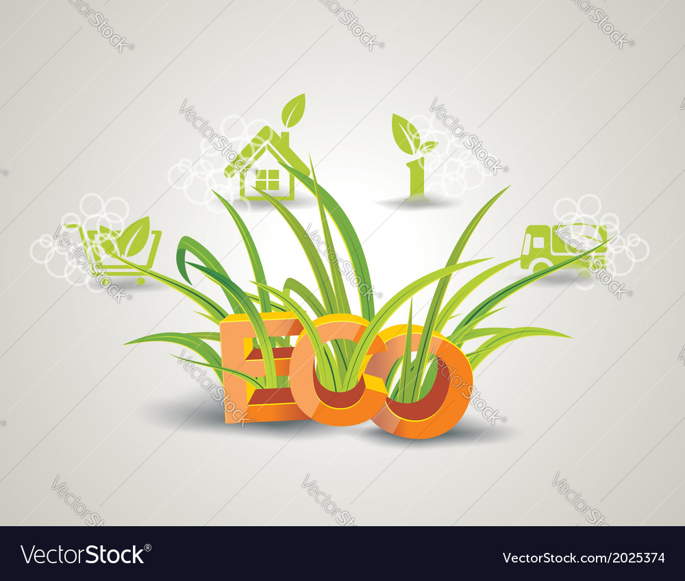 Ecology icon set letters eco with green grass vector | Price: 1 Credit (USD $1)