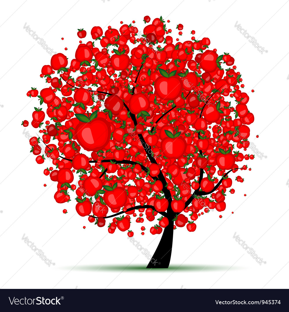 Energy apple tree for your design vector | Price: 1 Credit (USD $1)