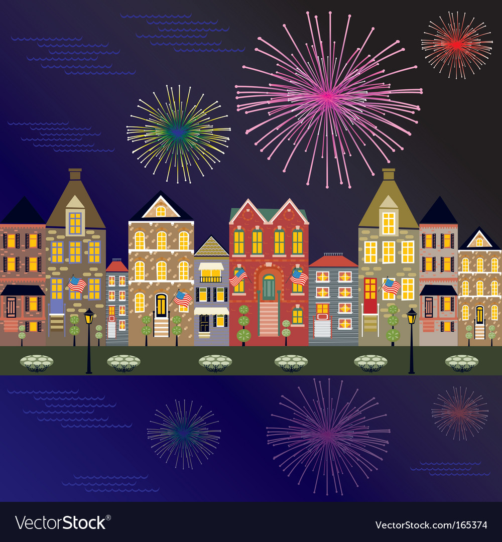 Fireworks cityscape vector | Price: 1 Credit (USD $1)
