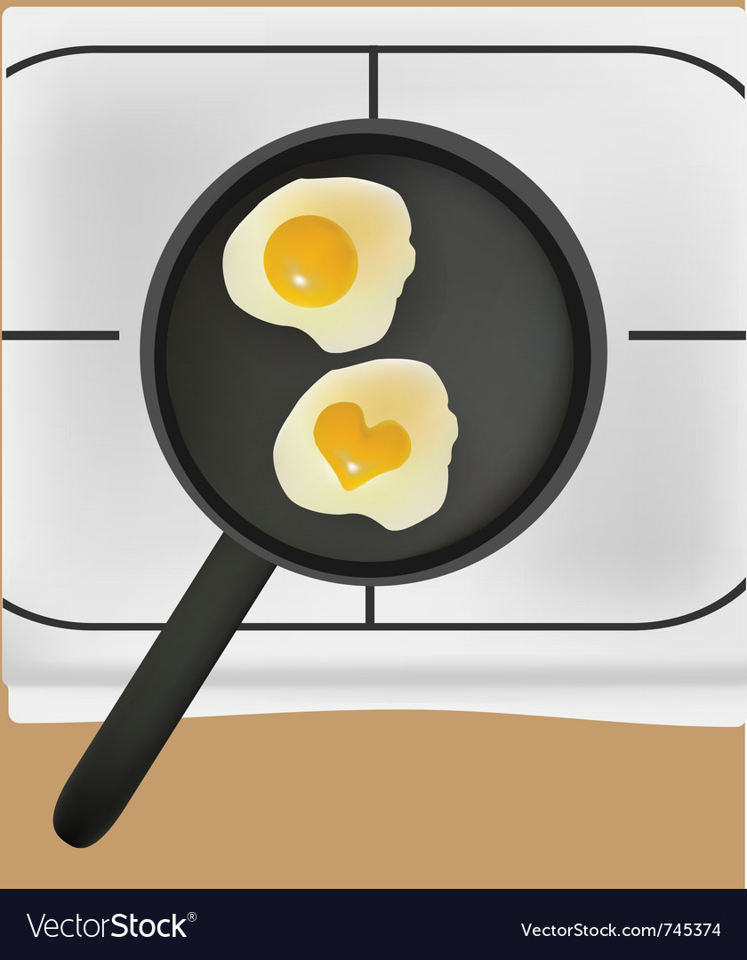 Fried eggs in black pan vector | Price: 1 Credit (USD $1)