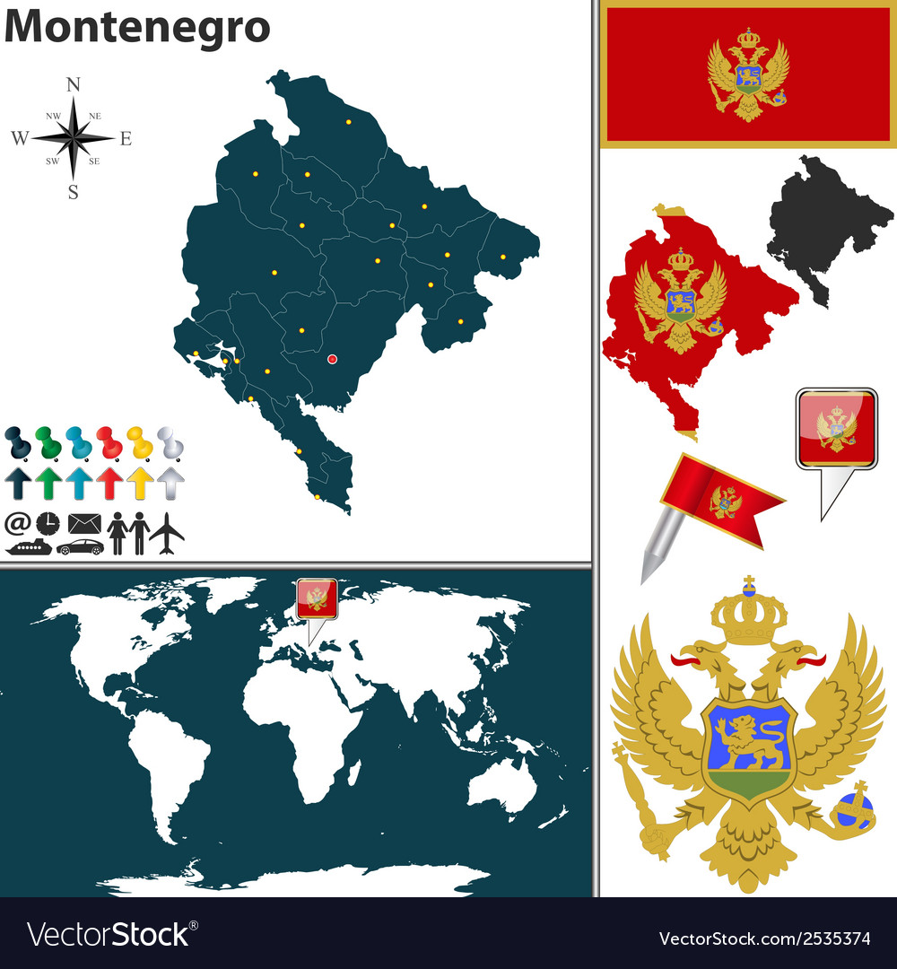 Montenegro map vector | Price: 1 Credit (USD $1)