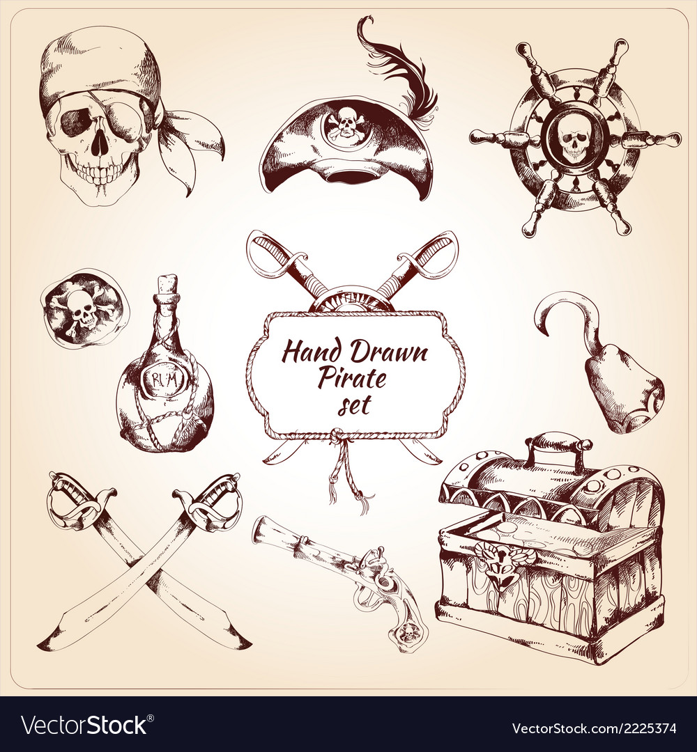 Pirates decorative icons set vector | Price: 1 Credit (USD $1)
