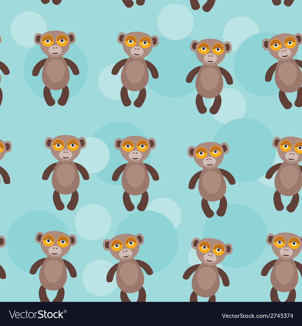 Seamless pattern with funny cute monkey animal on vector | Price: 1 Credit (USD $1)