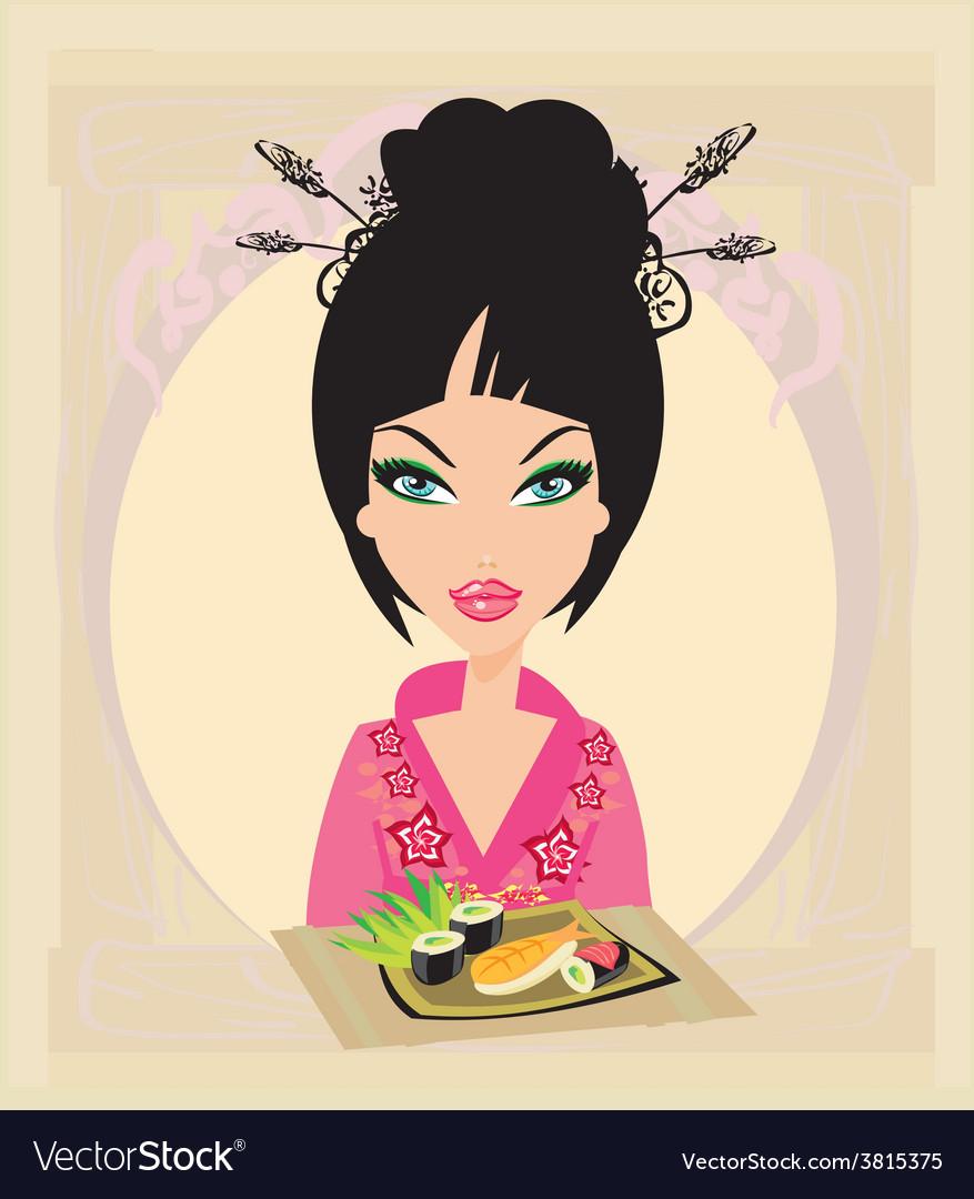Beautiful asian girl enjoy sushi vector | Price: 1 Credit (USD $1)