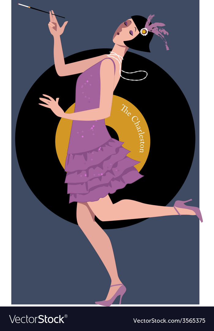 Flapper dancing the charleston vector | Price: 1 Credit (USD $1)