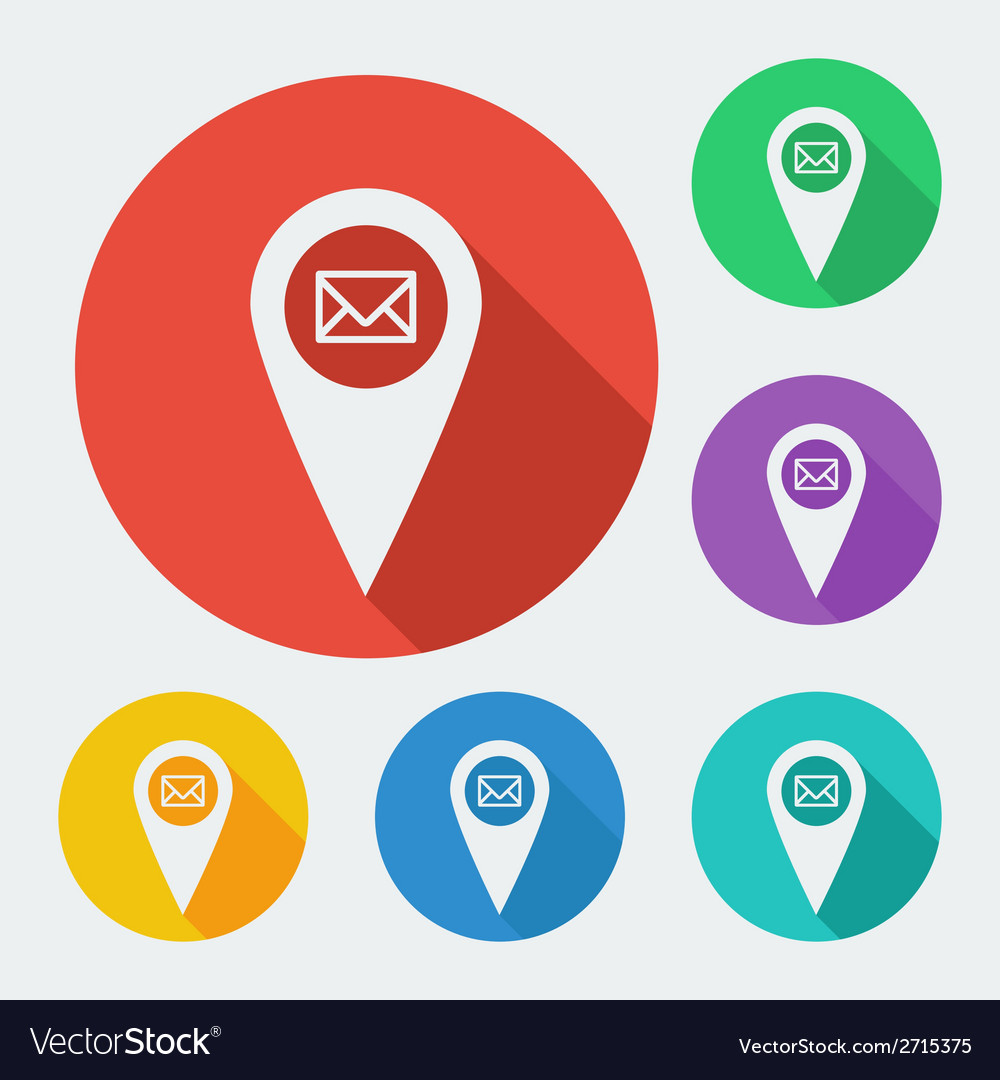 Map pointer icon with long shadow - geo tag web vector | Price: 1 Credit (USD $1)