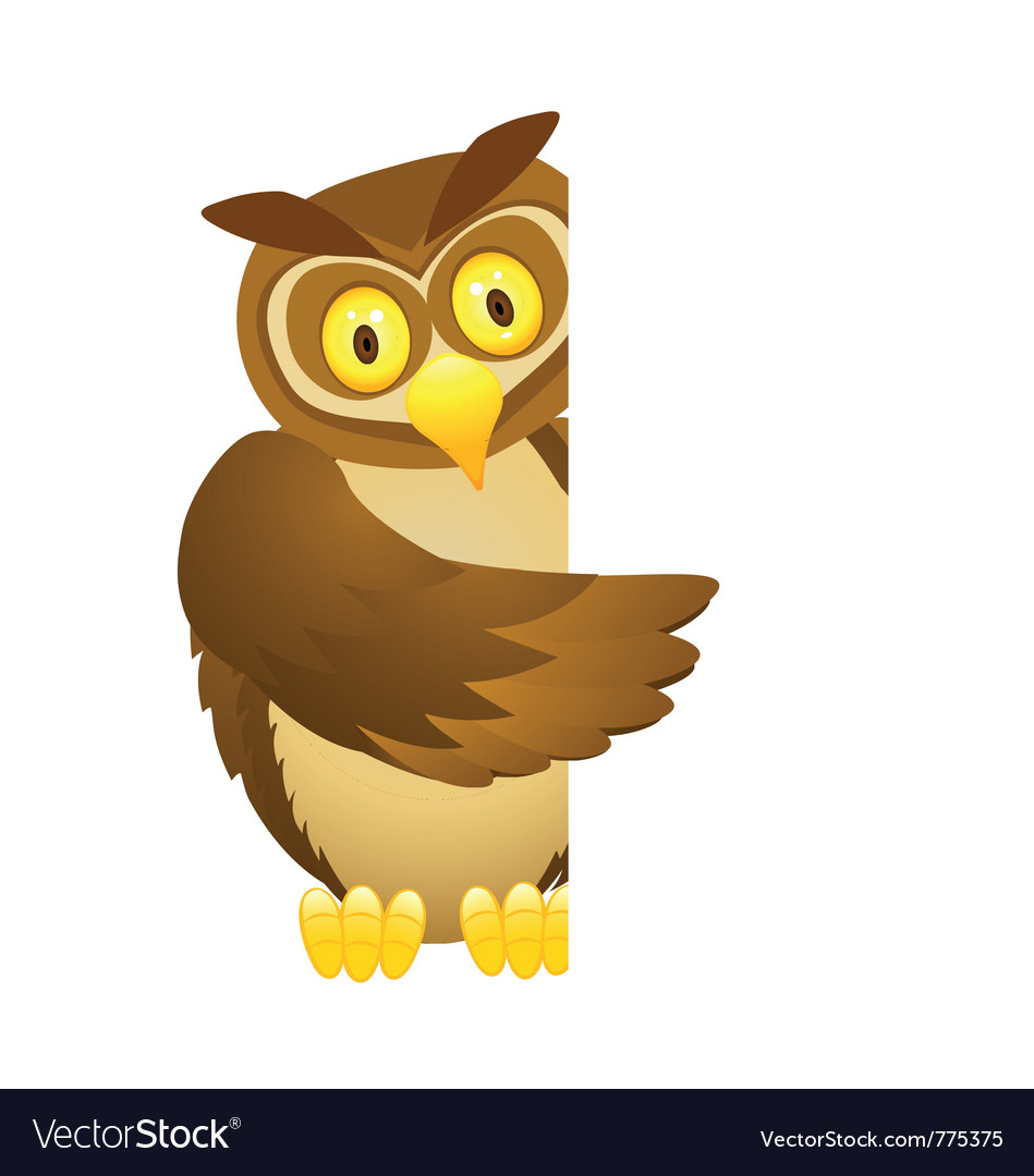 Owl with blank sign vector | Price: 3 Credit (USD $3)