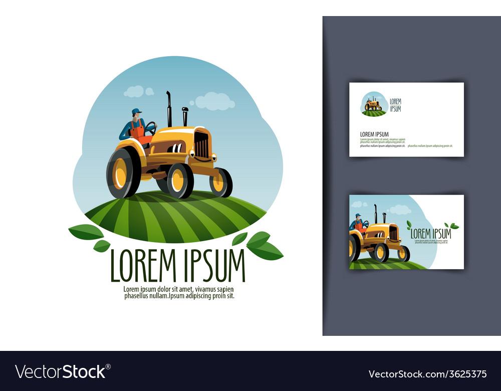 Tractor logo design template harvest or farm icon vector | Price: 1 Credit (USD $1)