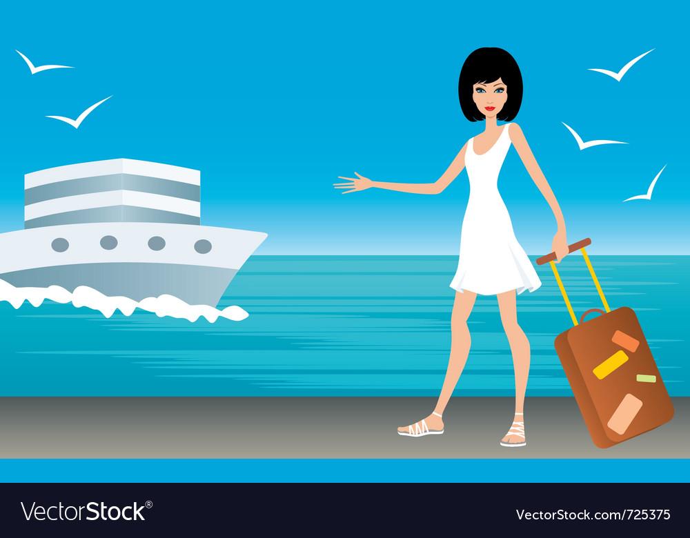 Woman with a suitcase on landing stage vector | Price: 1 Credit (USD $1)