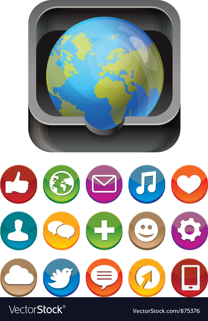 App icon - globe in square box with social media vector | Price: 1 Credit (USD $1)