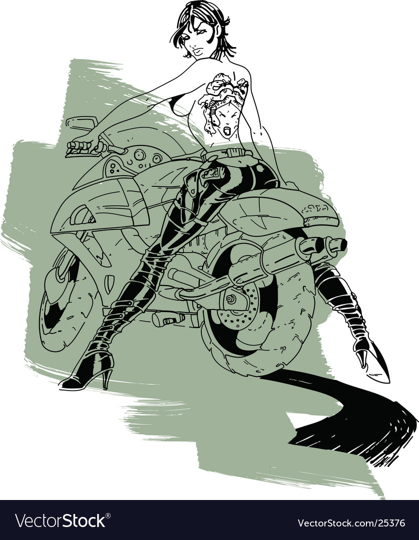 Biker girl sketch vector | Price: 1 Credit (USD $1)